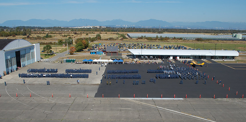 aerial view of air cadets parade